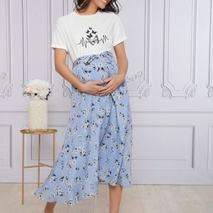 MATERNITY floral print butterfly top skirt set